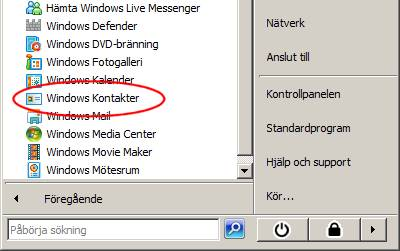 Win Vista Start-meny Windows Kontakter