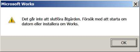 [Bild: Felmeddelande: Works 6 i Windows 7]