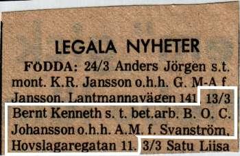 [Bild: Födelseannons för Bernt Kenneth Johansson son till 'bet.arb.' B. O. C. Johansson o.h.h. A.M. f. Svanström, Hovslagaregatan 11]