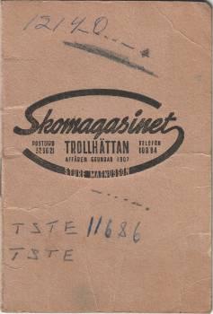 [Bild: Reklamfolder, Skomagasinet, Trollhättan ca 1951]