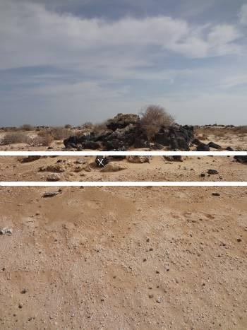 [Bild.: Corralejo Sandöken med sediment och en stenhög med sedimentrester, Fuerteventura]