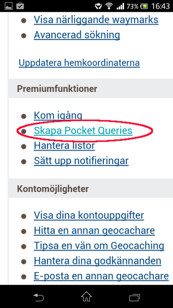 [Bild: Rubriken: Skapa Pocket Query]