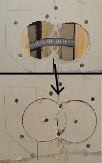 [Bild: EL till IKEA bänkbelysning del 2, två av hålen]