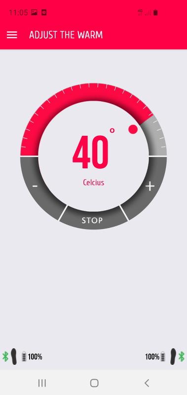 [Bild: Skärmbild på appen som ställer in värmen till skosulorna.]